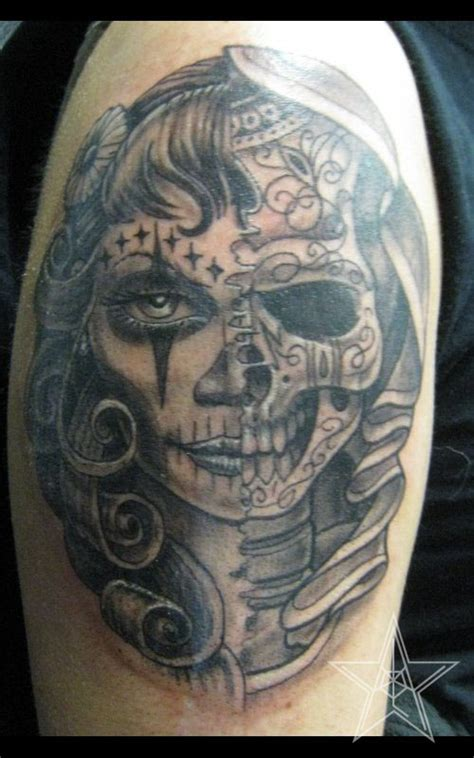 skull half sleeve half skull tattoo red dog case of the