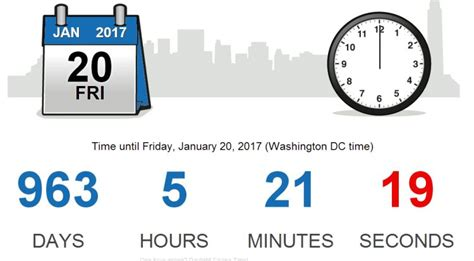 How Many Days Until Obama Leaves Office how much time is left until obama is out of office