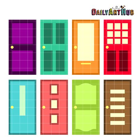 colorful doors colorful doors clip art set daily art hub