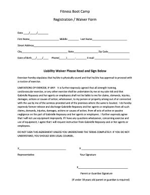 fitness waiver fill online printable fillable blank