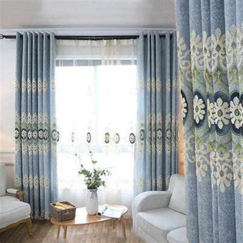 long living room curtains blue floral jacquard chenille thermal long curtains for