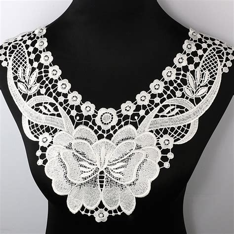 Lace Collar Import White 1 100 polyester white floral lace collar fabric trim diy embroidery lace fabric neckline applique