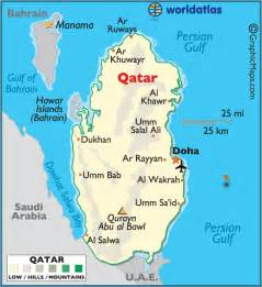 Qatar On World Map by Qatar Large Color Map