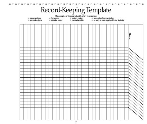 School Printable Images Gallery Category Page 18 Printablee Com Free Record Keeping Templates
