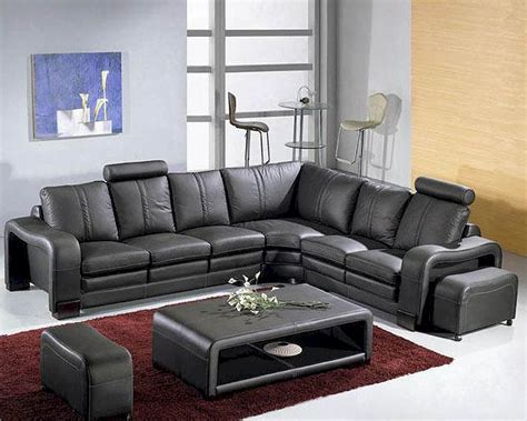 Black Leather Modern Sectional Sofa Set 44l3330bl Modern Black Sectional Sofa