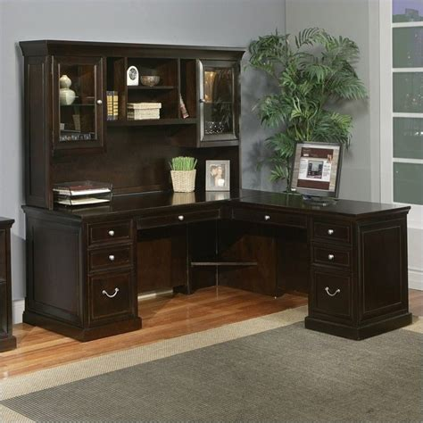 L Shaped Executive Desk With Hutch Kathy Ireland Home By Martin Fulton 68 Quot Rhf L Shaped Executive Desk With Hutch In Espresso