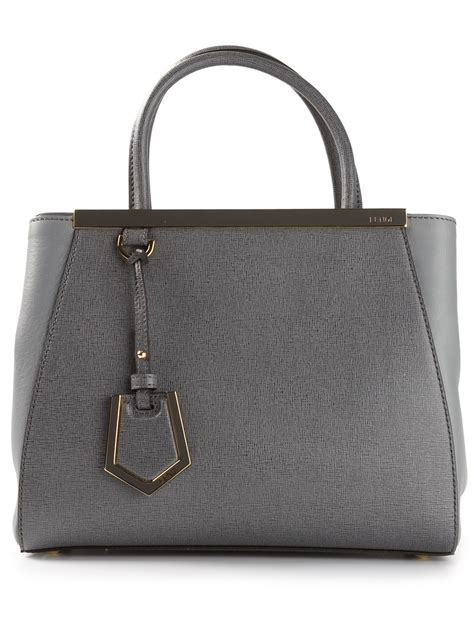 Fendi 2jours Tricolours lyst fendi small 2jours tote in gray