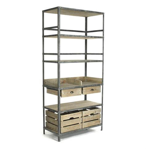 Bakers Shelf ardsley industrial loft grey metal bakers rack bookcase kathy kuo home