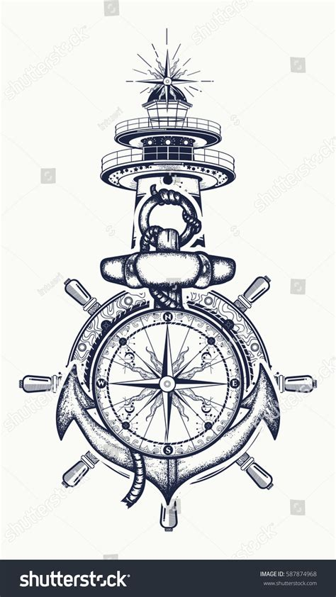 anchor steering wheel compass lighthouse tattoo stock