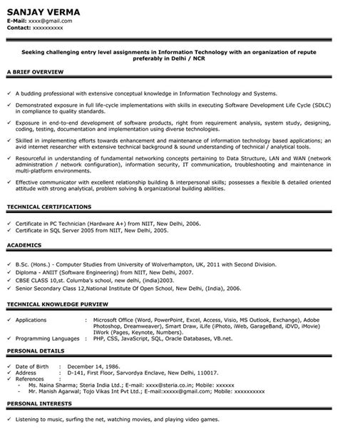 engineering resume sles for freshers resume format resume format for fresher automobile engineer