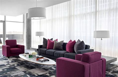 purple and grey sofa how to decorate with purple in dynamic ways