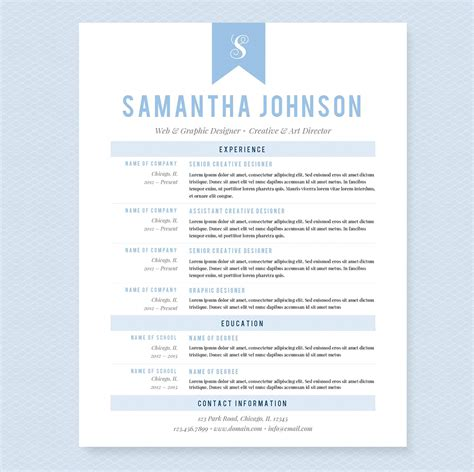 Baby Resume by Light Blue Resume Template Package Resume Templates On Creative Market