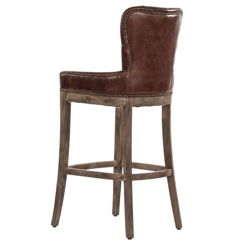 mexican bar stools leather ridley rustic lodge tufted brown leather bar stool kathy