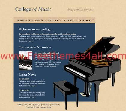 Free Html College Of Music Website Template Freethemes4all Piano Website Template