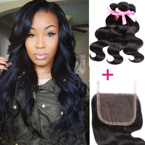 closure weave styles peruvian body wave 4 4 1pc lace closure with 3 bundles