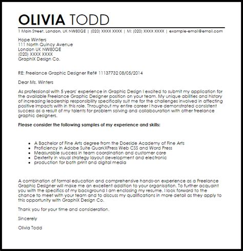 cover letter for graphic design freelance graphic designer cover letter sle livecareer