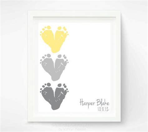 Yellow Gray Nursery Decor Yellow Gray Nursery Print Baby Footprint Hearts Baby Wall Childrens