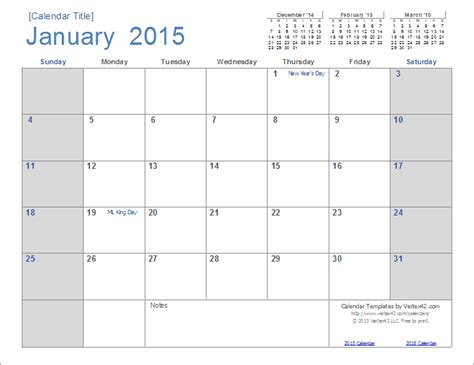 printable monthly calendar january 2015 2015 calendar templates and images