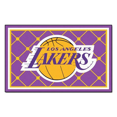 lakers area rug fanmats los angeles lakers 5 ft x 8 ft area rug 9299 the home depot