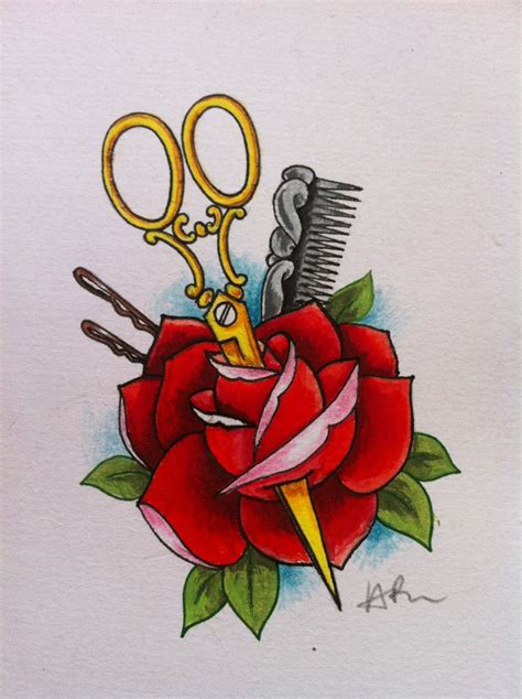 olde school tattoo school design i did for a hairdresser