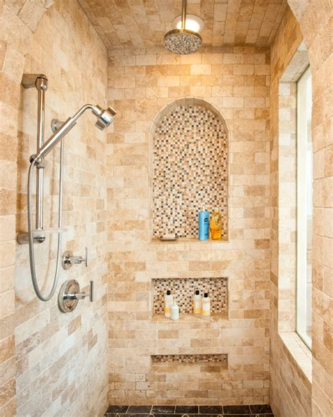 mediterranean master bathroom with gold travertine subway tile merola tile illuvia square