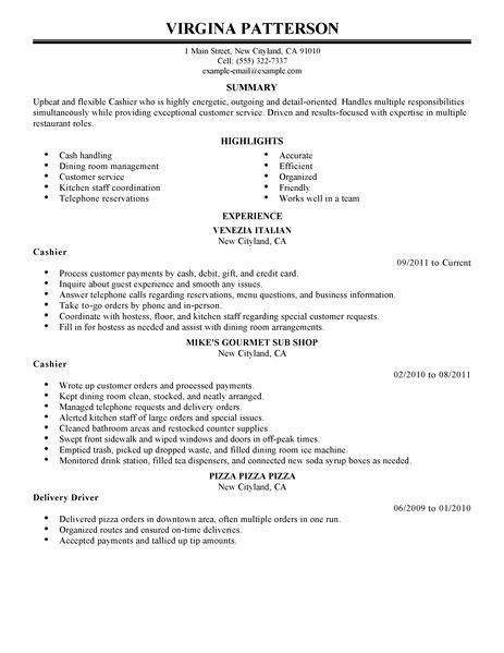 Cashier Duties Resume by Best Restaurant Cashier Resume Exle Livecareer