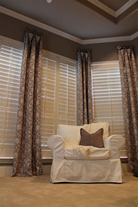 plantation shutters with curtains 17 best ideas about drapery panels on pinterest drapery