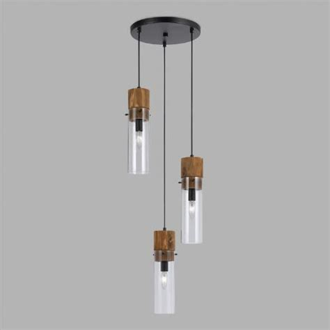 3 light hanging pendant wood and glass staggered 3 light pendant l world market