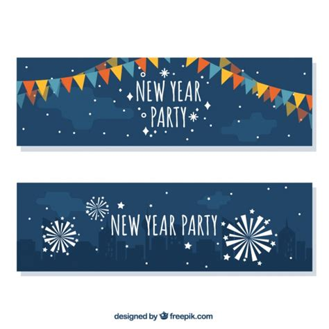 free vector new year banner new year banners with garlands and fireworks vector free