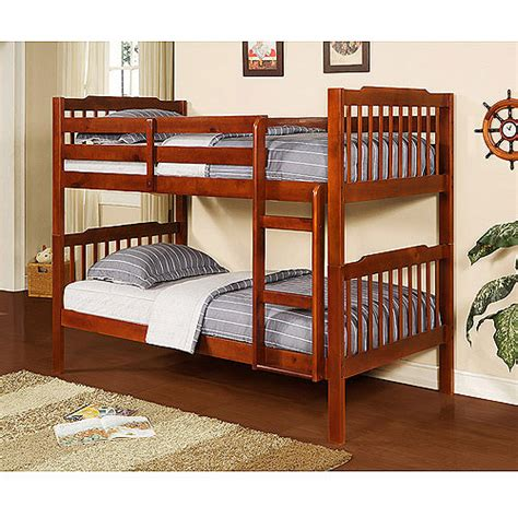 Bunk Bed Sets With Mattresses Elise Bunk Bed With Set Of 2 Mainstays 6 Quot Coil Mattresses Mahogany Walmart