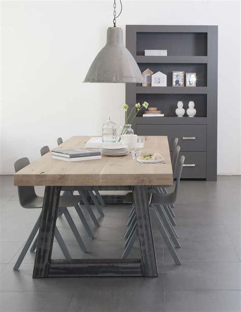 eettafelbank rvs houten tafel stalen onderstel home pinterest