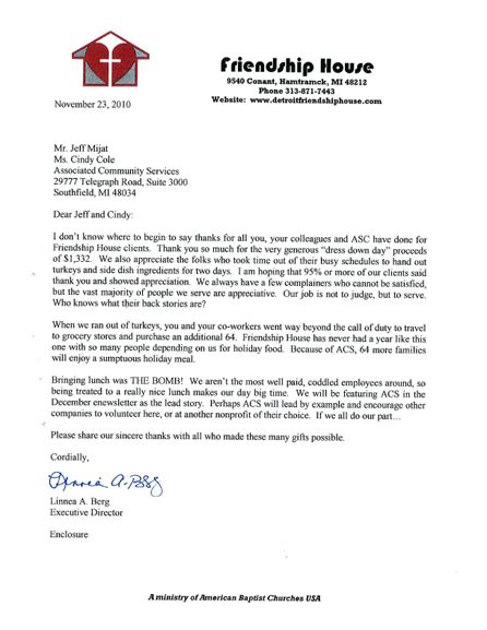 thank you letter exle for service casual for a cause thank you letters associated