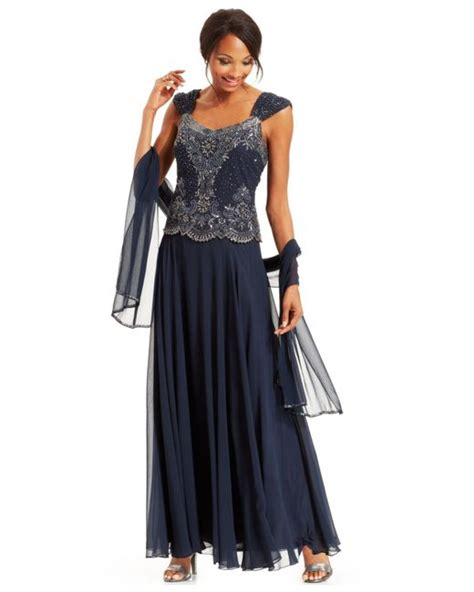 j kara beaded bodice gown j kara beaded bodice chiffon gown and shawl in blue navy