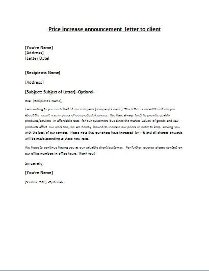 price increase announcement letter writelettercom