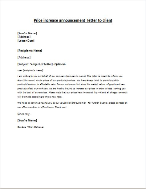 price increase letter template price increase announcement letter writeletter2