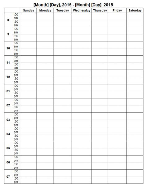 week calendar template 9 free word documents download