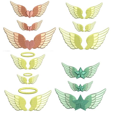 embroidery design angel wings angel wing machine embroidery design 3 mini sizes by