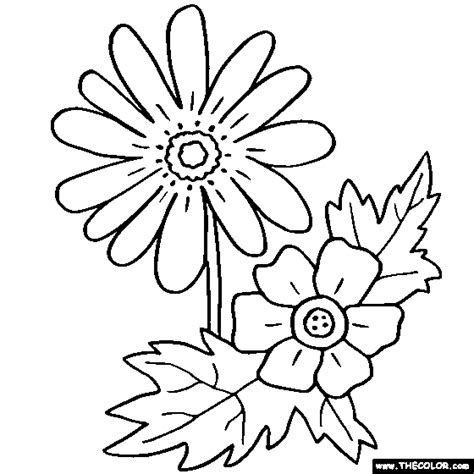Galerry flower collage coloring page