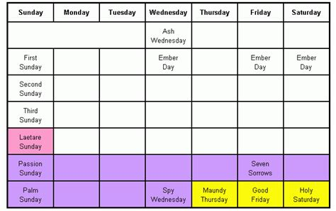 40 days of lent calendar calendar template 2016