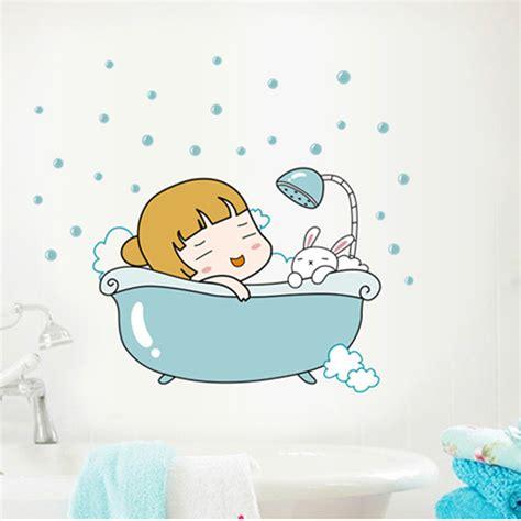 waterproof bathroom stickers 2015 removable cartoon stickers bathroom wall tile