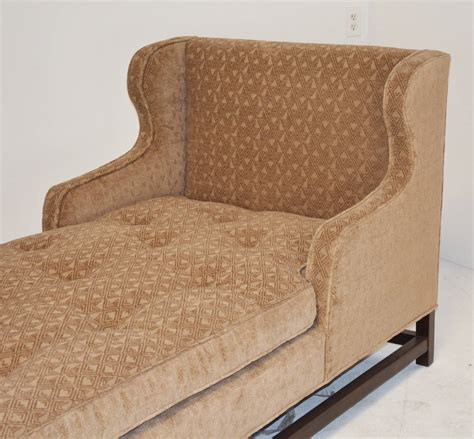 wingback chaise mid century modern wingback chaise with walnut legs and
