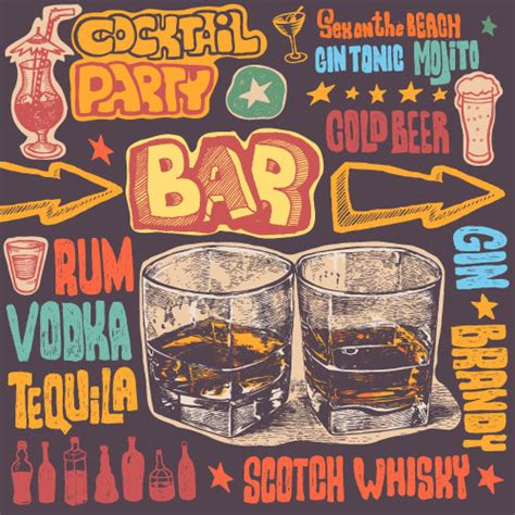 vintage cocktail party poster cocktail party poster hand drawn vectors vector cover