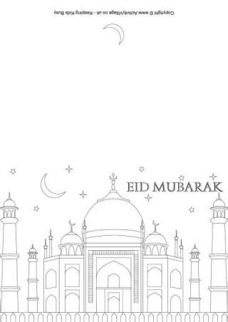 happy eid card template eid colouring pages