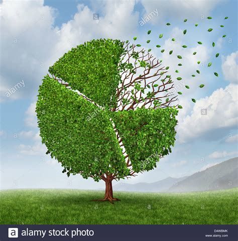 Growing Green losing market pie chart as a growing green tree with