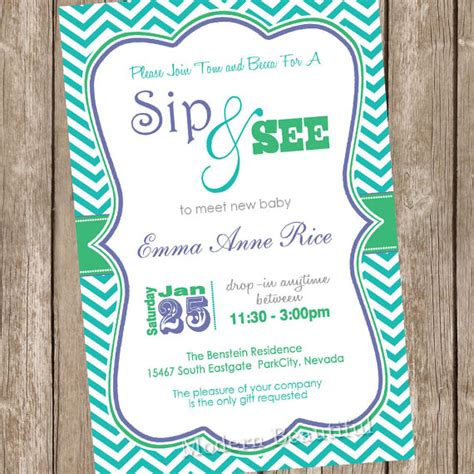 neutral sip and see baby shower invitation chevron baby shower invitation teal green chevron