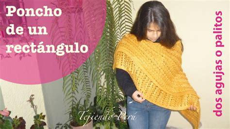 poncho para ni a en crochet y agujas circulares tricot poncho de un rect 225 ngulo doblado tejido en dos agujas o