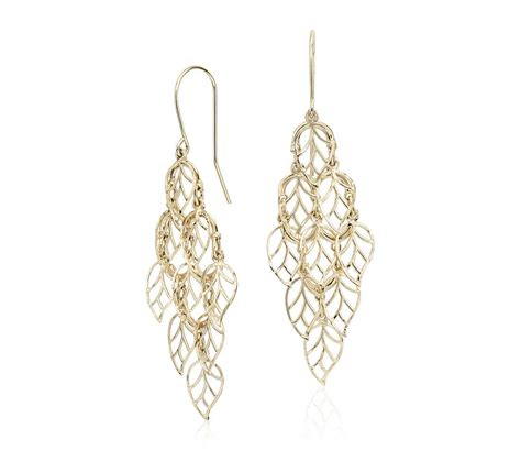 Yellow Gold Chandelier Earrings Leaf Chandelier Earrings In 14k Yellow Gold Blue Nile