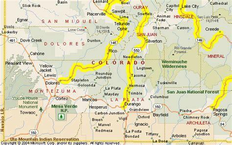 durango colorado map motorcycle colorado passes and canyons durango area