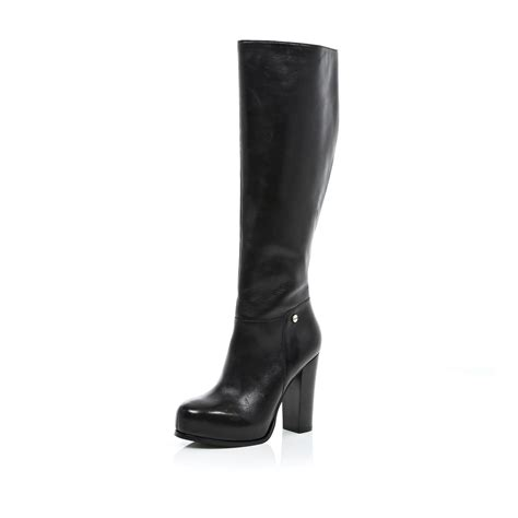 knee high black heel boots river island black block heel knee high boots in black lyst