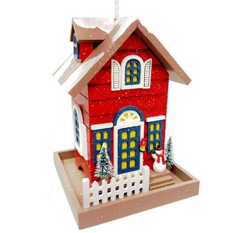 duncraft com main street christmas cottage bird feeder